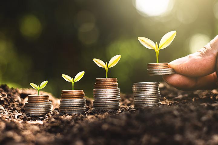Apilando monedas - crecimiento del dinero